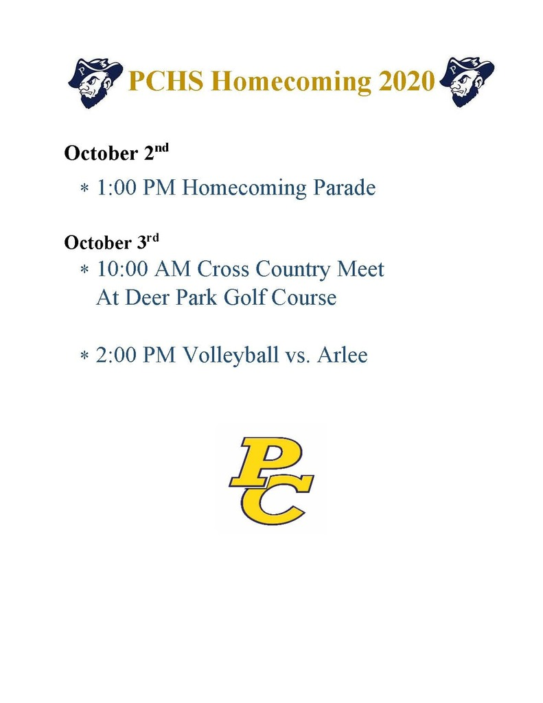 Homecoming Week Schedule!