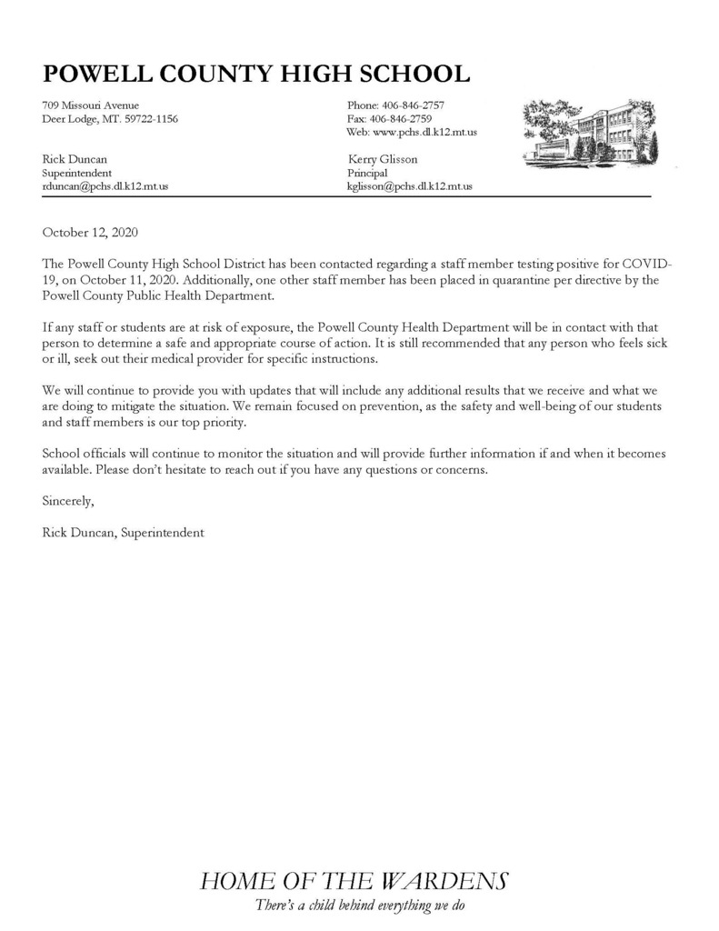 Letter about Co vid in Powell County High School