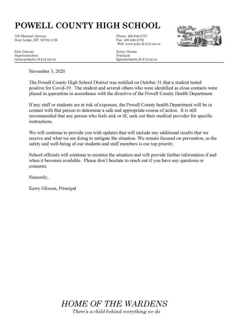 Covid Statement on PCHS Letterhead