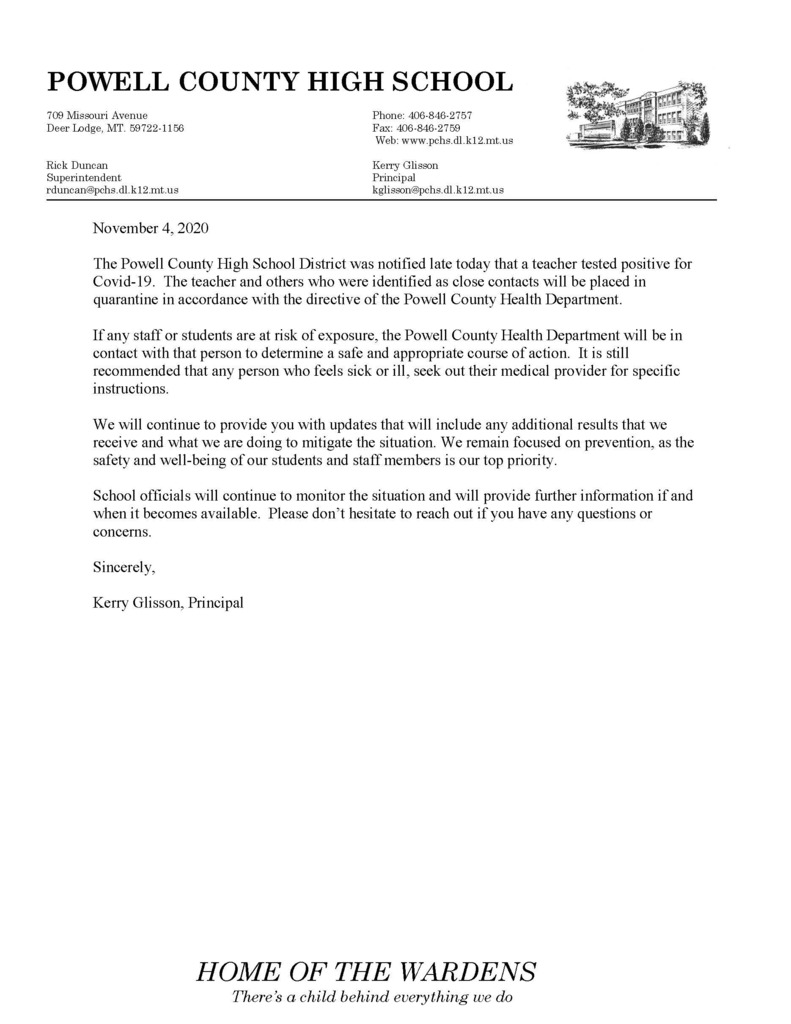 A letter on Letterhead about a positive covid case at school