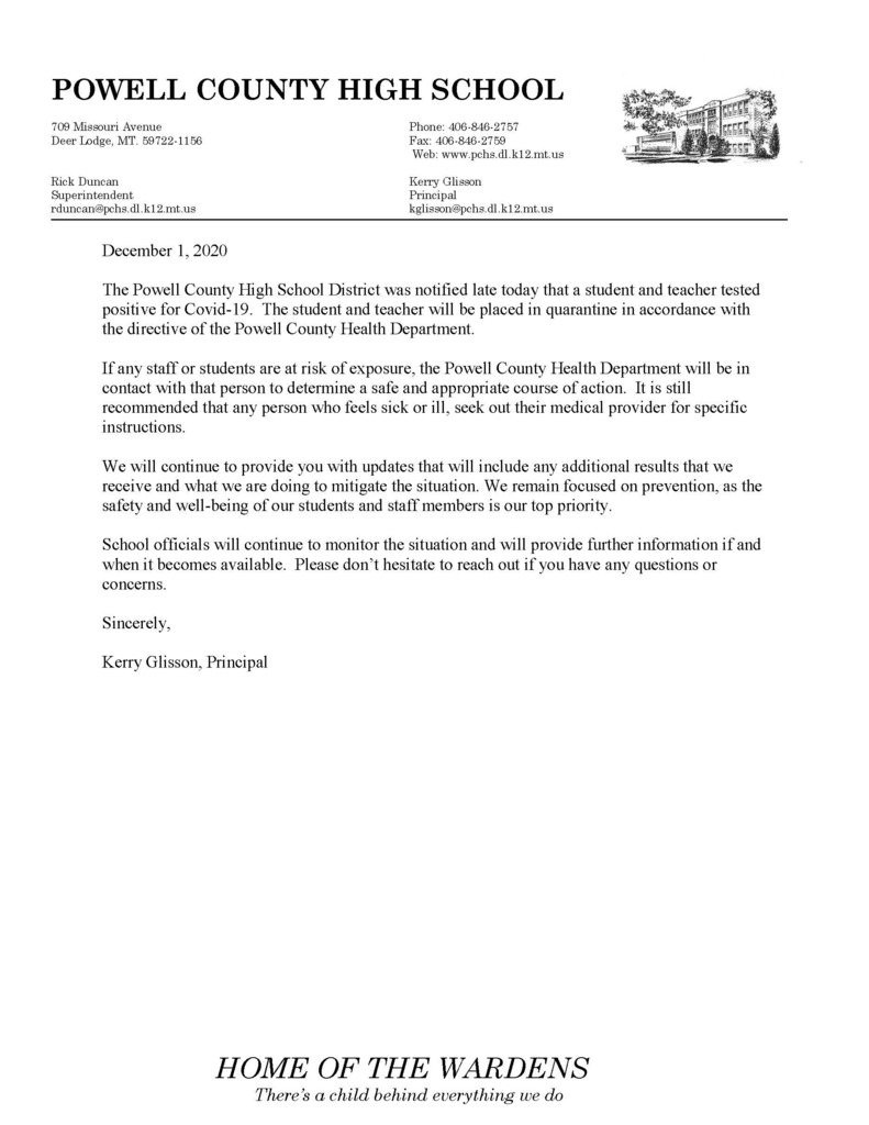 Covid 19 notification letter on school letterhead