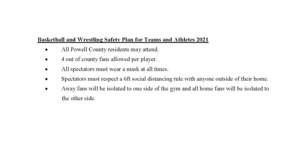 Powell County High School Spectator Policy for Basketball and Wrestling