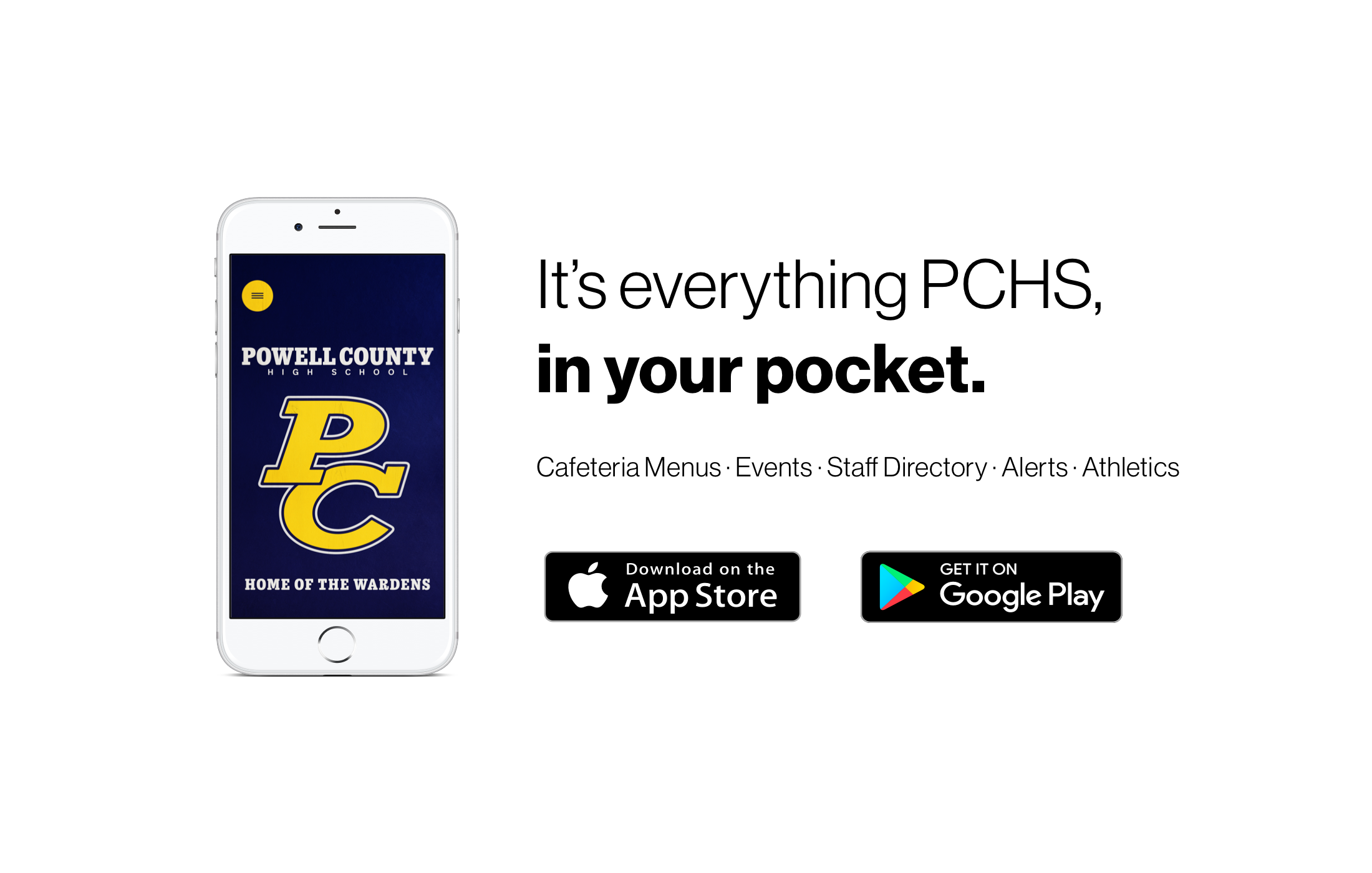 Picture of a phone showing our PCHS APP with buttons showing you can download it